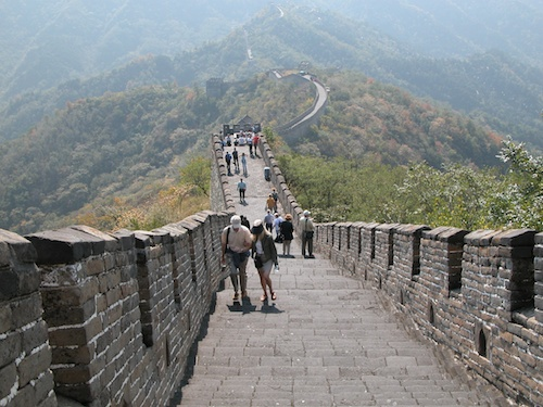 Walking along the Mutianyu section of the Great Wall of China, Beijing - © LoveToEatAndTravel.com