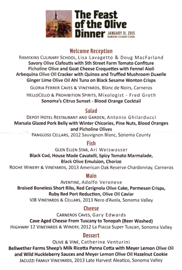 Sonoma Valley Feast of the Olive Dinner Menu
