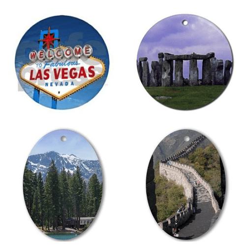 Las Vegas, Stonehenge, Lake Tahoe and the Great Wall of China Ornaments – © LoveToEatAndTravel.com