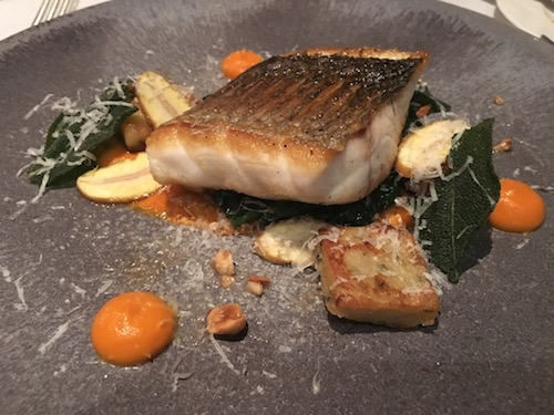 Wild Bass, Pumpkin, Parmesan, Sage and Pepper Gnocchi, Chestnut entree at The Dower Restaurant at The Royal Crescent Hotel & Spa in Bath, UK - photo © Love to Eat and Travel