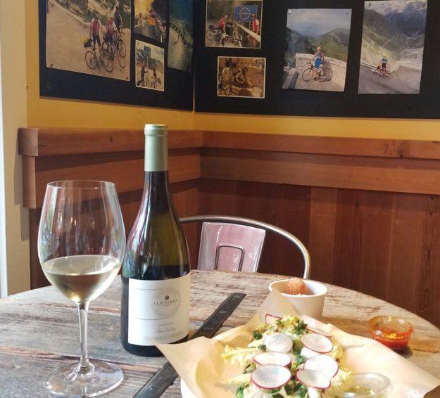 Clif Family Winery - Fresco bruschetta and bike decor - Credit: Deborah Grossman