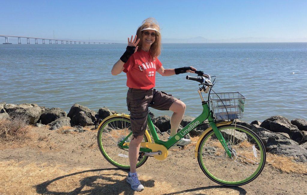 Alana out for a morning bike ride along San Francisco Bay - photo © LoveToEatAndTravel.com