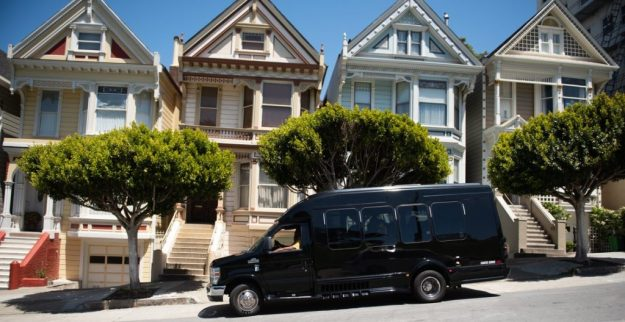 Pot Tour Bus by Painted Ladies in San Francisco