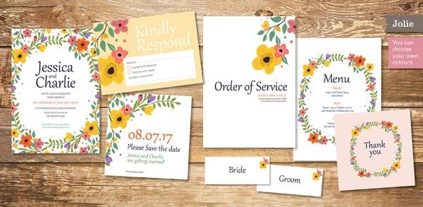 pretty floral wedding invitation