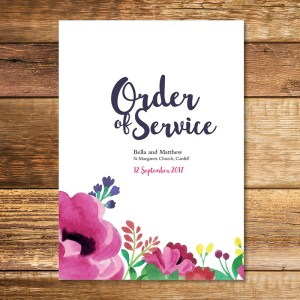 Watercolour Order of Service