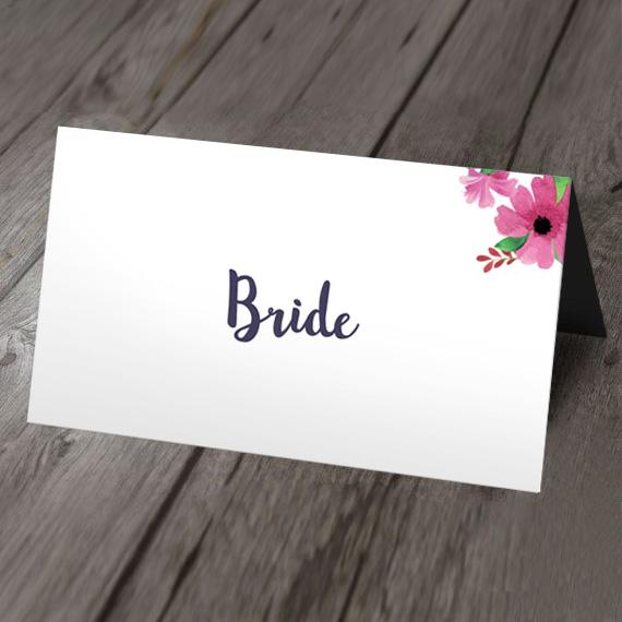 Watercolour wedding place card