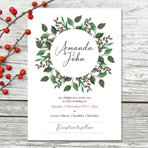 Winter Wreath Wedding Invitation