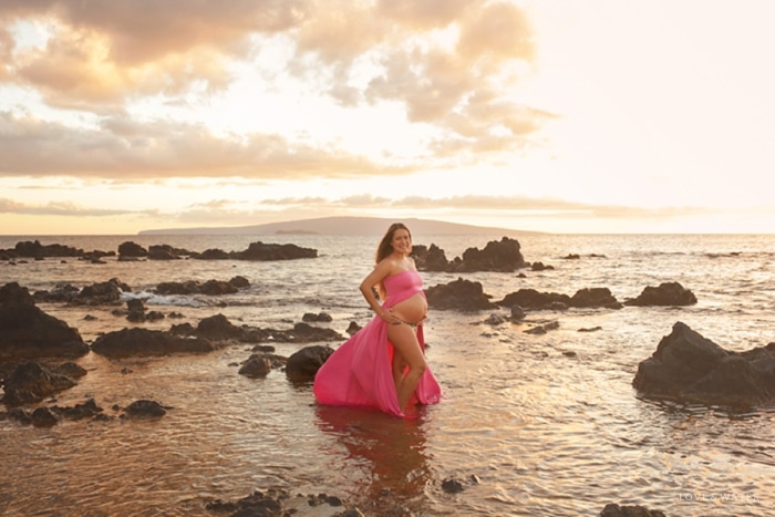 Maui Maternity Photographers sunset beach pregnancy session www.lovewaterphoto.com