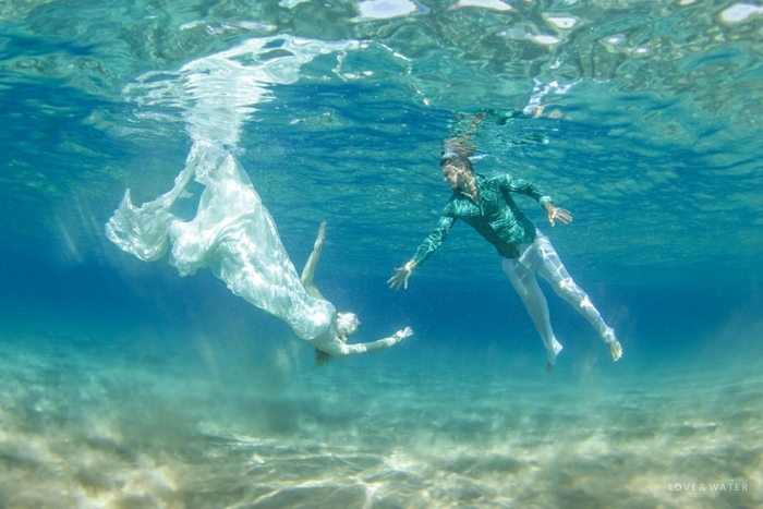 Maui underwater photographer trash the dress session