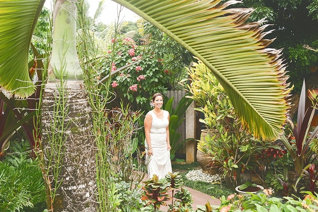 Bride wearing BHLDN wedding dress for first look at Kauai Elopement
