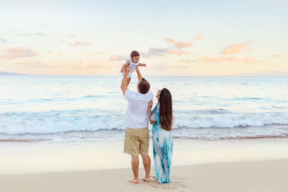 Fun Maui family sunrise session in Wailea with Love + Water Photography