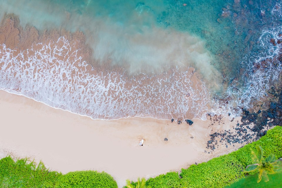 Drone couples portraits on Maui by Love + Water photography
