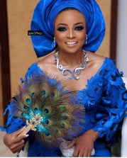2017 Nigerian Wedding Trends Emilia Jane Adenuga Peacock Traditional Bridal Hand Fan LoveWeddingsNG
