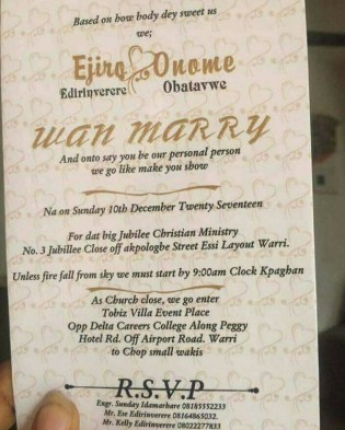 Nigerian Funny Warri Wedding Invitation Card LoveWeddingsNG