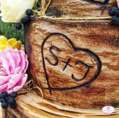 Nigerian Wooden Rustic Wedding Cake Dainty Affairs LoveWeddingsNG