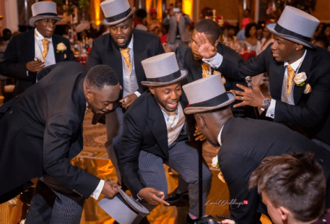 Ollie & Bae's 50's Hollywood Vintage Glamour Themed Wedding Groom and Groomsmen dancing AFMENA Events LoveWeddingsNG 1