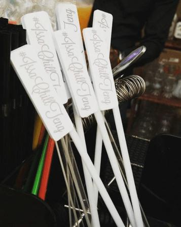 Custom Wedding Hashtag Drink Stirrers by The Mobile Bar #IssaChillTeng LoveWeddingsNG