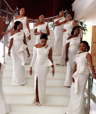 Nigerian Bridesmaids in white at #AdaEze2018