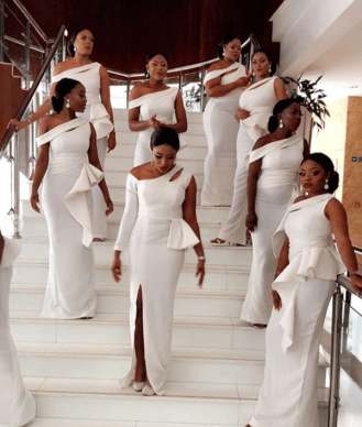 Nigerian Bridesmaids in white Wedding #AdaEze2018 LoveWeddingsNG 1