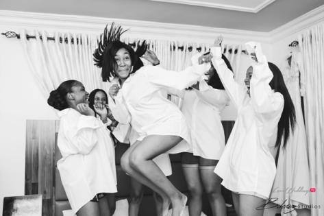 Nigerian Bride and Bridesmaids in white tee shirt Ini and Femi's Rustic Nigerian Wedding LoveWeddingsNG 3