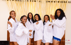 Nigerian Bride and Bridesmaids in white tee shirt Ini and Femi's Rustic Nigerian Wedding LoveWeddingsNG