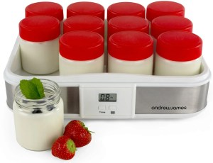 Andrew James Large Stainless Steel Coloured Digital Yoghurt Maker