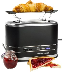 Andrew James 800W Matt Black 2 Slice Toaster With Bagel Warming Rack