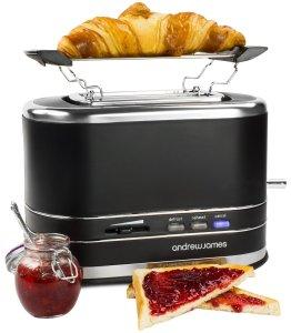 Andrew James 800W Matt Black 2 Slice Toaster With Bagel Warming Rack