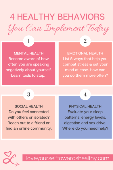 Healthy behaviors you can implement today that have nothing to do with weight loss. Includes tips for your mental health, emotional health, social health and actual physical health.