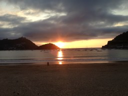 Sunset at Playa de la Concha, one of the best city beaches in Europe