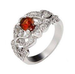 1 carat garnet engagement ring on silver