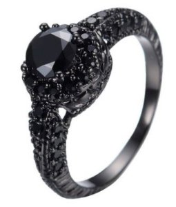 JunXin 10KT Black Gold 8MM Round Cut Diamond Halo Rings Black Onyx Stone