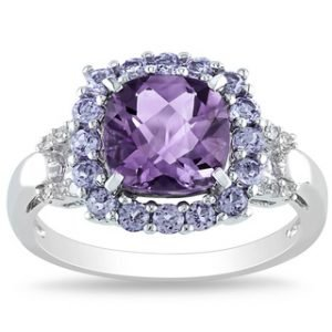 Miadora Sterling Silver Cushion-cut Amethyst, Tanzanite and Diamond Accent Ring