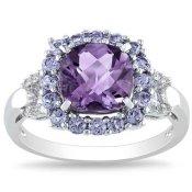 Miadora Sterling Silver Cushion-cut Amethyst, Tanzanite and Diamond Accent Ring