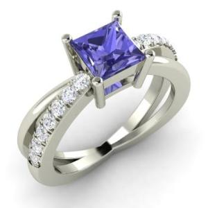 Princess-Cut Tanzanite and I Diamond Sidestone Engagement Ring in 14k White Gold