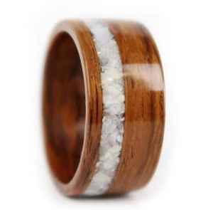 Rosewood Wood Ring Mother of Pearl Inlay