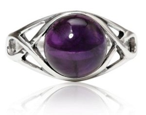 amethyst celtic knot triquetra trinity knot ring