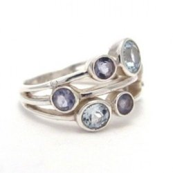 cut blue topaz and iolite silver ring