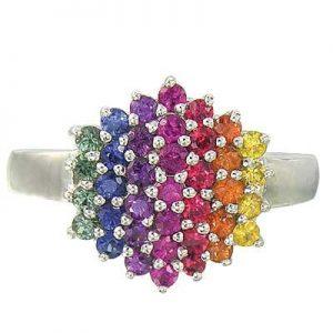 multicolored rainbow wedding ring engagement