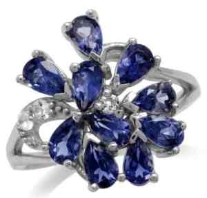 natural iolite white gold plated 925 sterling silver cluster cocktail ring