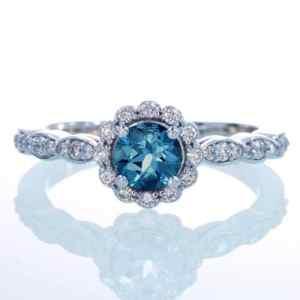 14K White Gold Diamond London Blue Topaz Floral Halo Engagement Wedding Ring