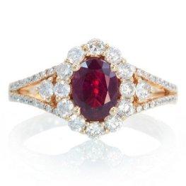 18K Ruby Engagement Ring set in rose gold