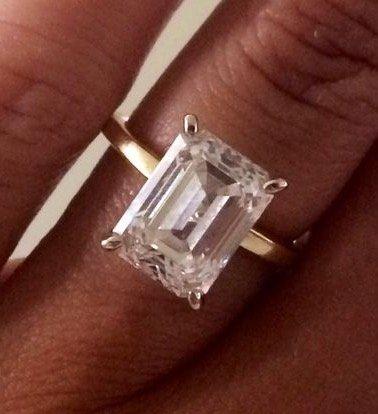 4 carat diamond emerald cut yellow gold thin band Love You Tomorrow