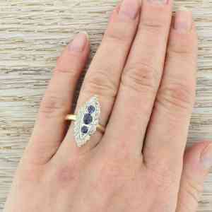 Art Deco Sapphire Old Cut Diamond Gold Navette Ring