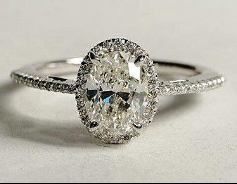 Engagement ring - oval, one halo, cushion cut ring