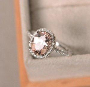 Natural morganite ring, sterling silver, pink gemstone morganite, halo ring, engagement ring