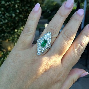 OEC and Emerald Navette Ring 26-S
