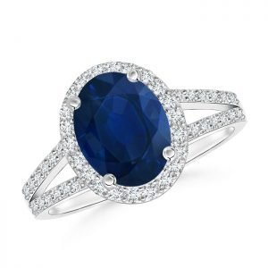 Oval Sapphire and Diamond Split Shank Ring