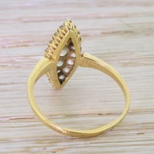 Victorian 1.00 Carat Old Cut Diamond Gold Navette Cluster Ring