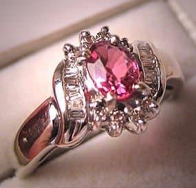 Vintage Diamond Tourmaline Wedding Ring White Gold Pink